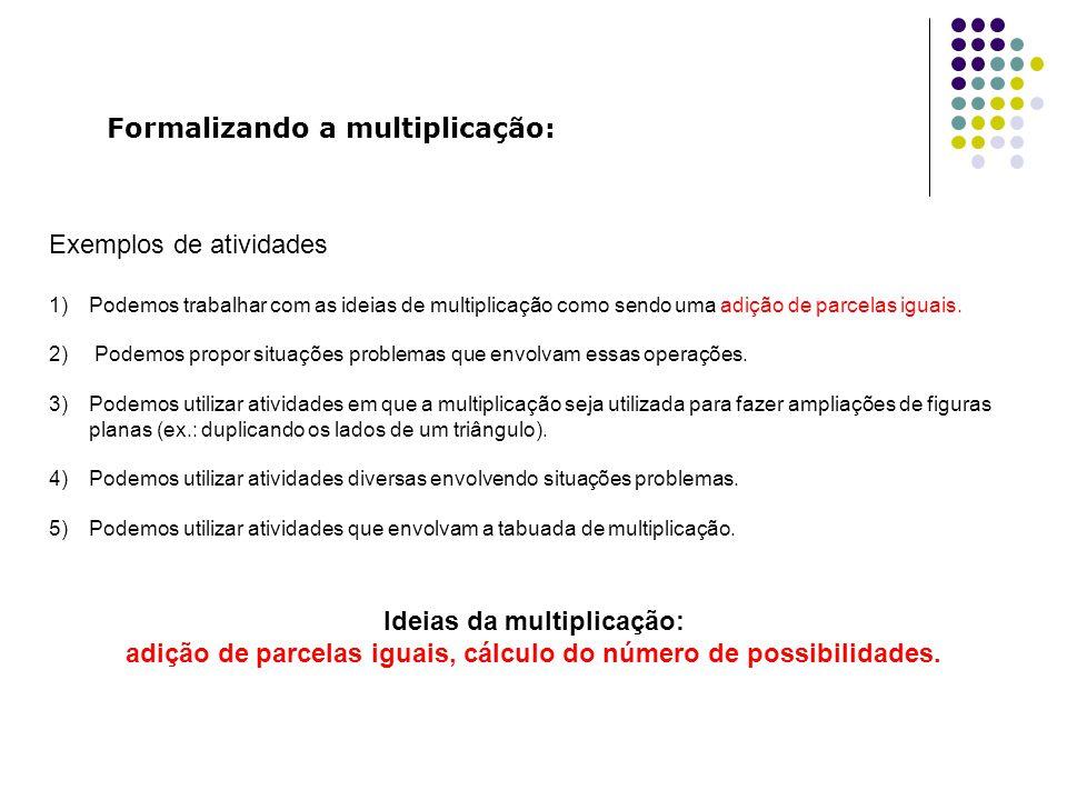Formalizando a multiplicação: Exemplos de atividades 1)Podemos trabalhar com as ideias de multiplicação como sendo uma adição de parcelas iguais. 2) P
