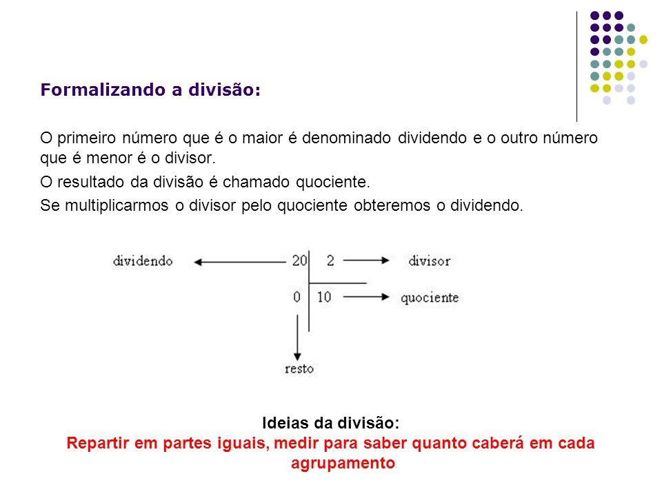 Formalizando a divisão: O primeiro número que é o maior é denominado dividendo e o outro número que é menor é o divisor. O resultado da divisão é cham