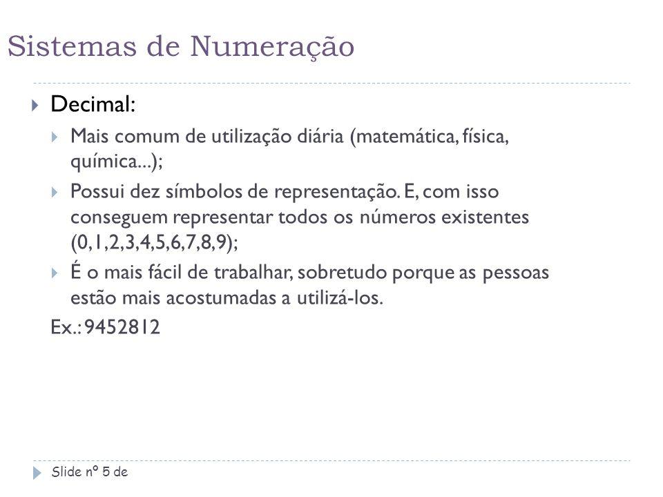 Sistemas de Numeração Slide nº 6 de  Hexadecimal:  Bastante utilizados em sistemas matemáticos e na informática (sw);  Possui, além dos símbolos vistos nos números usados no cotidiano, outros caracteres de representação dos números de 2 (dois) algarismos até 15;  Possui 16 (dezesseis) símbolos de representação numérica (0,1,2,3,4,5,6,7,8,9,A,B,C,D,E,F); Ex.: F367B3A - Reduz a quantidade de algarismos pela inserção dos símbolos A, B, C, D, E, F.