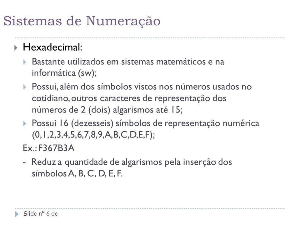 Sistema decimal para octal Slide nº 17 de 42 Número: ( 42 ) 10 – ( ) 8  Ir dividindo o número decimal por 8 até chegar ao quociente menor que 8: 42 8 40 5 2 Pegar o último quociente, juntamente com os demais restos da direita para a esquerda e juntá-los em um só número octal.