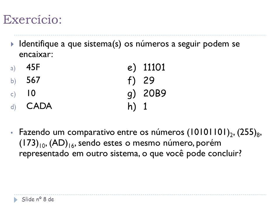 Sistema hexadecimal para binário Slide nº 19 de 2A Número: ( 2A ) 16 - ( 101010 ) 2  Ver o equivalente na tabela BIN-HEX.