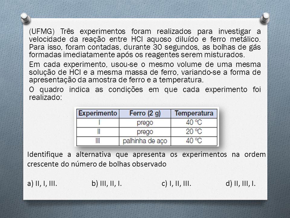 (UFMG) Três experimentos foram realizados para investigar a velocidade da reação entre HCl aquoso diluído e ferro metálico. Para isso, foram contadas,