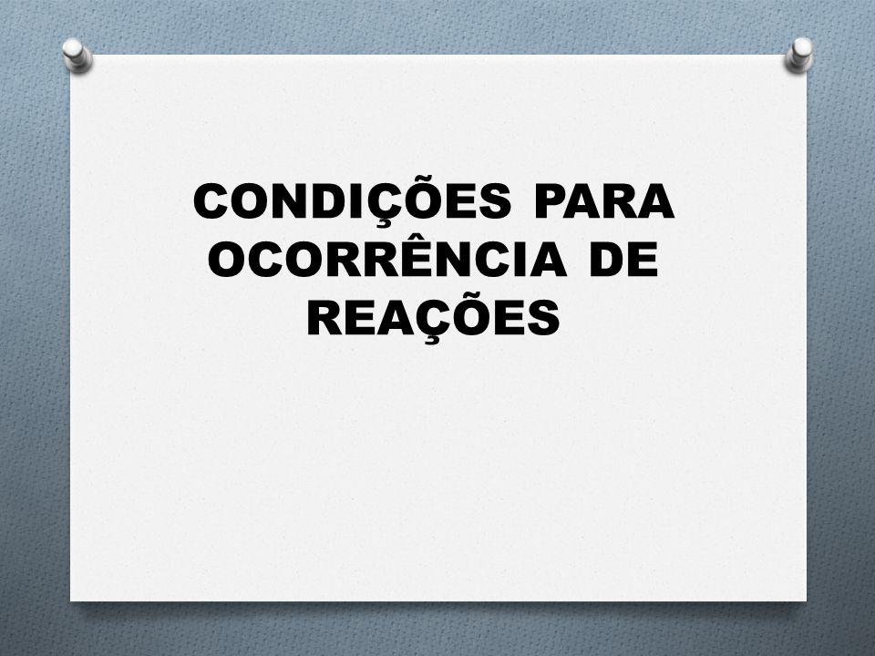 CONDIÇÕES PARA OCORRÊNCIA DE REAÇÕES