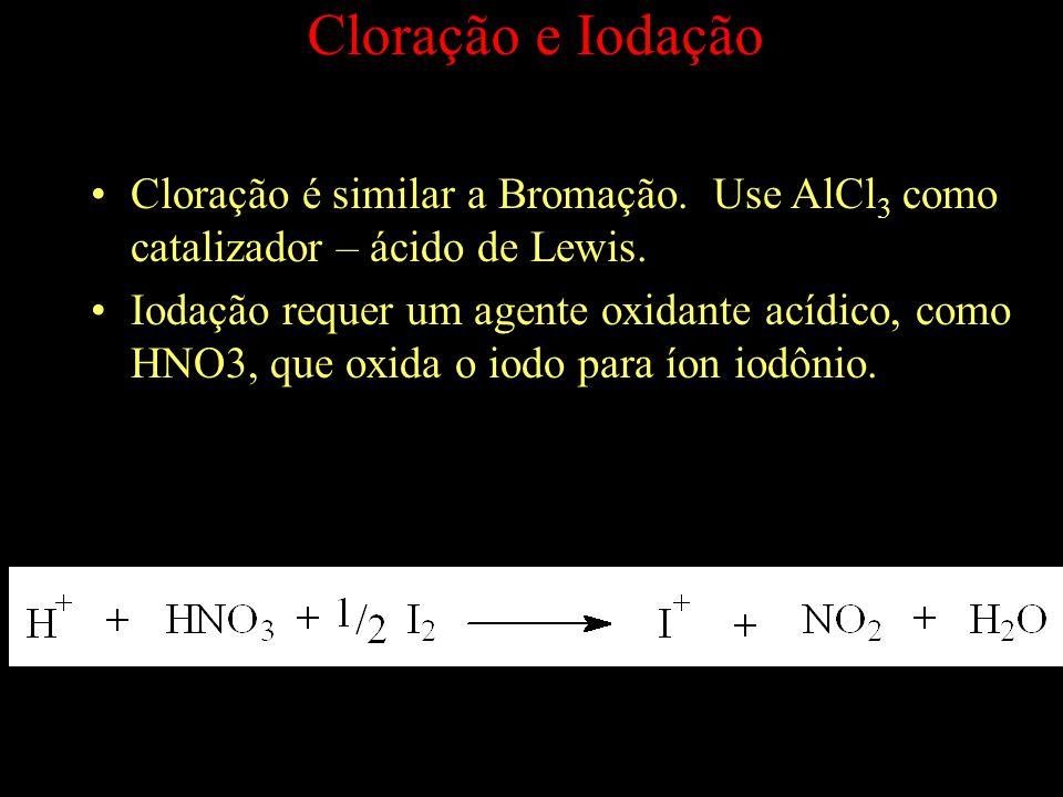 Cloração é similar a Bromação.Use AlCl 3 como catalizador – ácido de Lewis.