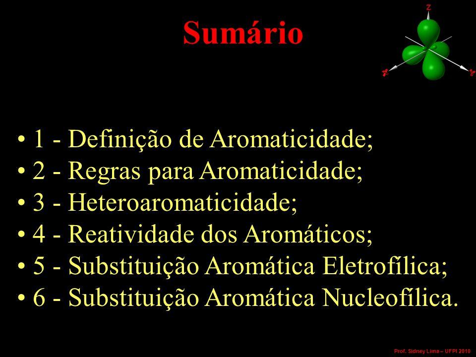 Sumário 1 - Definição de Aromaticidade; 2 - Regras para Aromaticidade; 3 - Heteroaromaticidade; 4 - Reatividade dos Aromáticos; 5 - Substituição Aromática Eletrofílica; 6 - Substituição Aromática Nucleofílica.