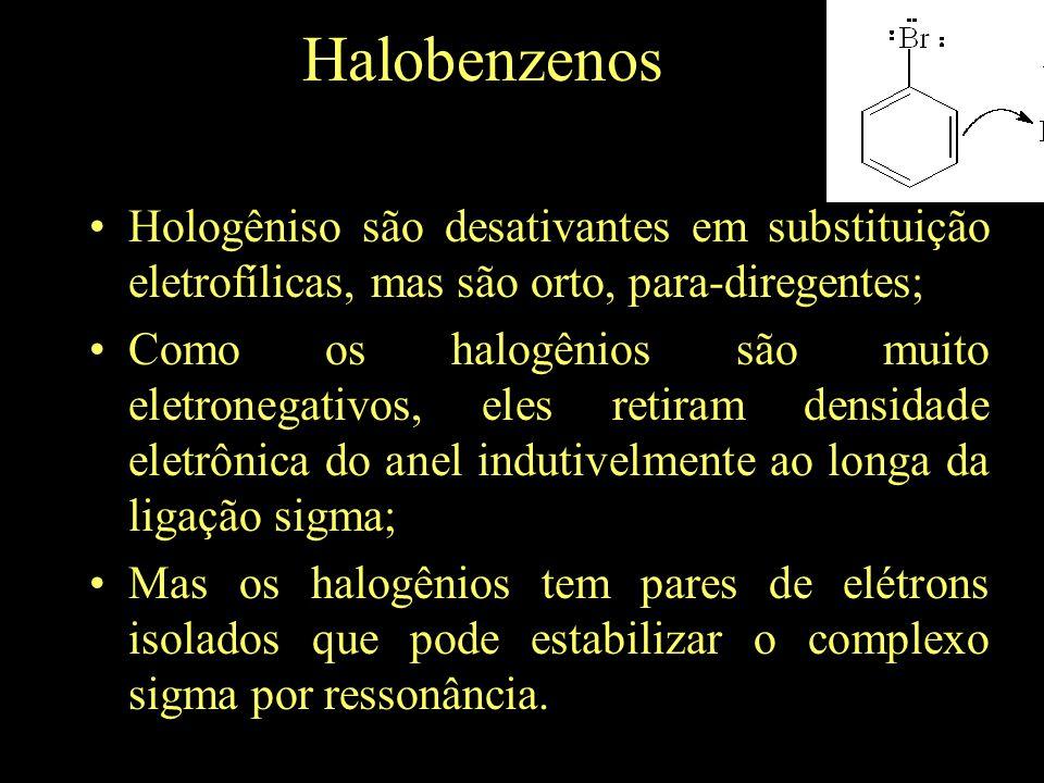 Halobenzenos Hologêniso são desativantes em substituição eletrofílicas, mas são orto, para-diregentes; Como os halogênios são muito eletronegativos, eles retiram densidade eletrônica do anel indutivelmente ao longa da ligação sigma; Mas os halogênios tem pares de elétrons isolados que pode estabilizar o complexo sigma por ressonância.