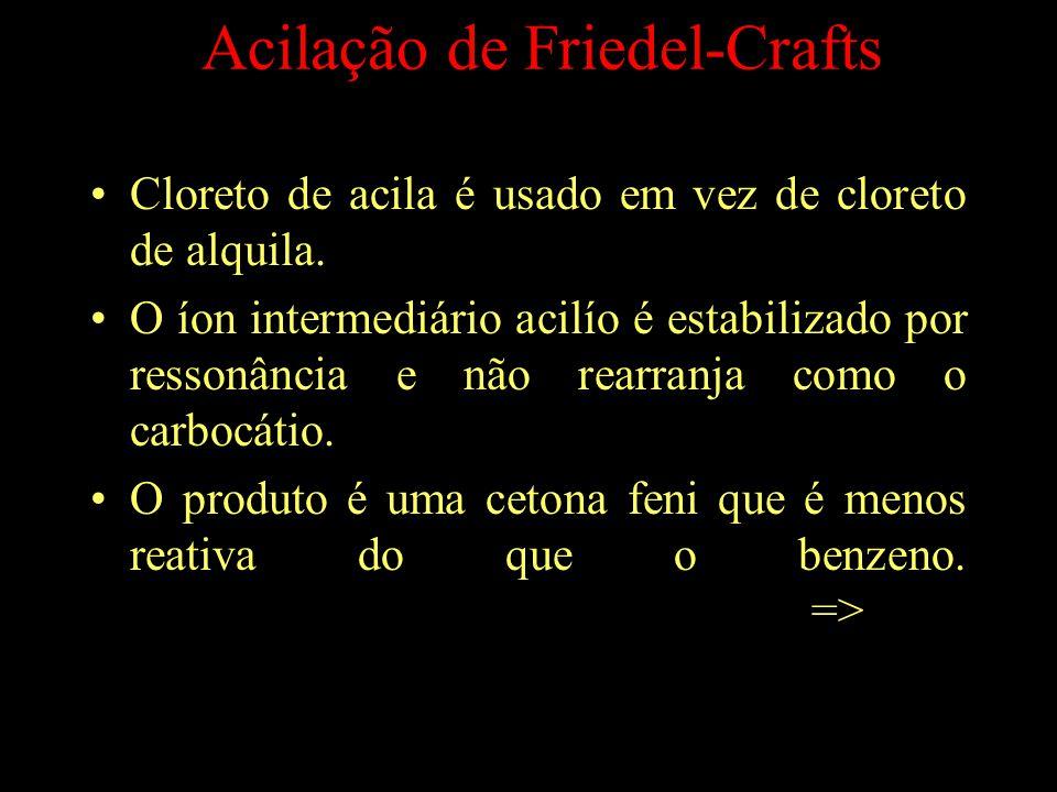 Acilação de Friedel-Crafts Cloreto de acila é usado em vez de cloreto de alquila.