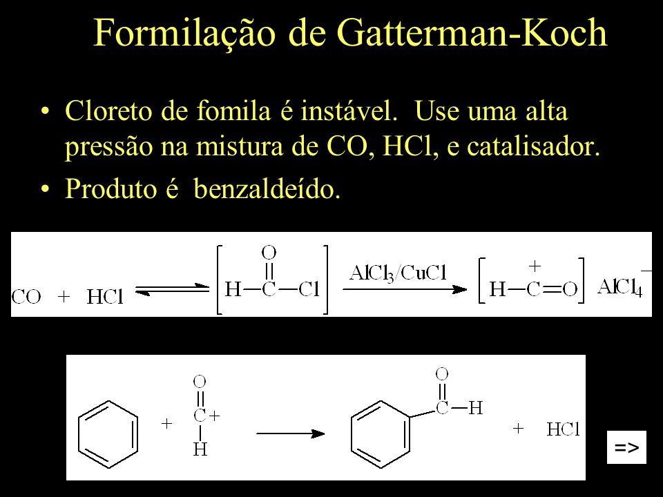 Formilação de Gatterman-Koch Cloreto de fomila é instável.