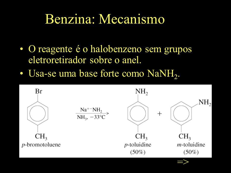 Benzina: Mecanismo O reagente é o halobenzeno sem grupos eletroretirador sobre o anel.