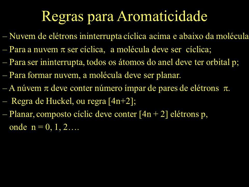 Regras para Aromaticidade – Nuvem de elétrons ininterrupta cíclica acima e abaixo da molécula; – Para a nuvem  ser cíclica, a molécula deve ser cíclica; – Para ser ininterrupta, todos os átomos do anel deve ter orbital p; – Para formar nuvem, a molécula deve ser planar.