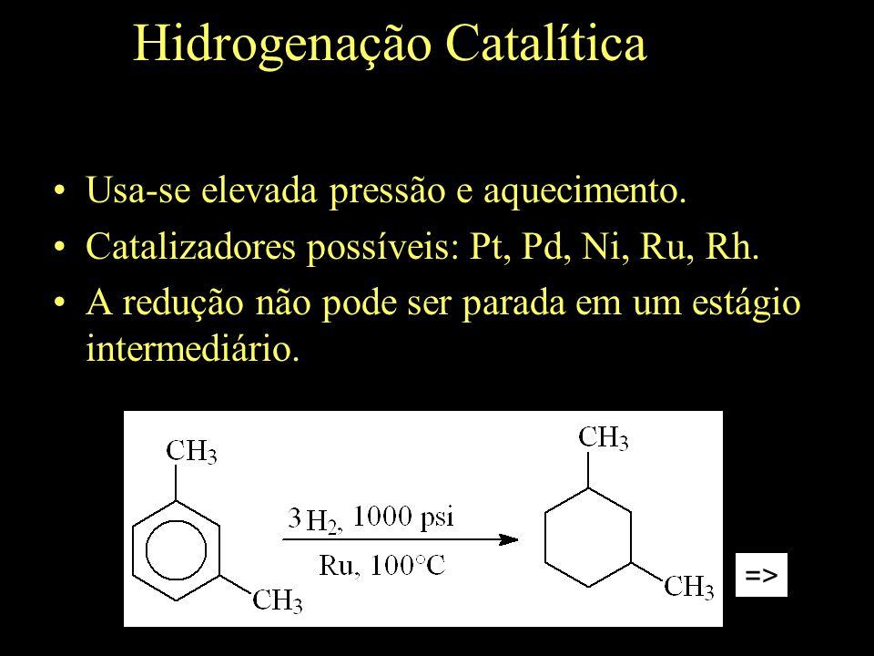Hidrogenação Catalítica Usa-se elevada pressão e aquecimento.
