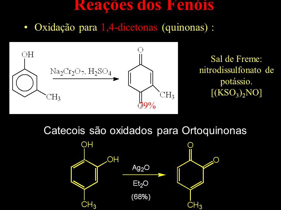 Reações dos Fenóis Oxidação para 1,4-dicetonas (quinonas) : 79% Sal de Freme: nitrodissulfonato de potássio.