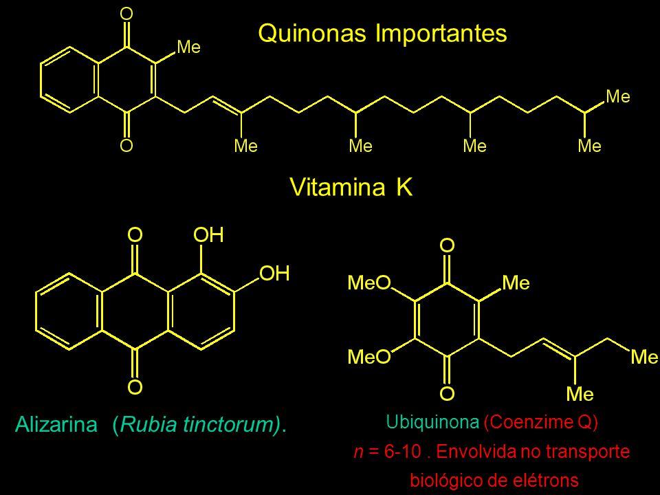 Alizarina (Rubia tinctorum).Ubiquinona (Coenzime Q) n = 6-10.