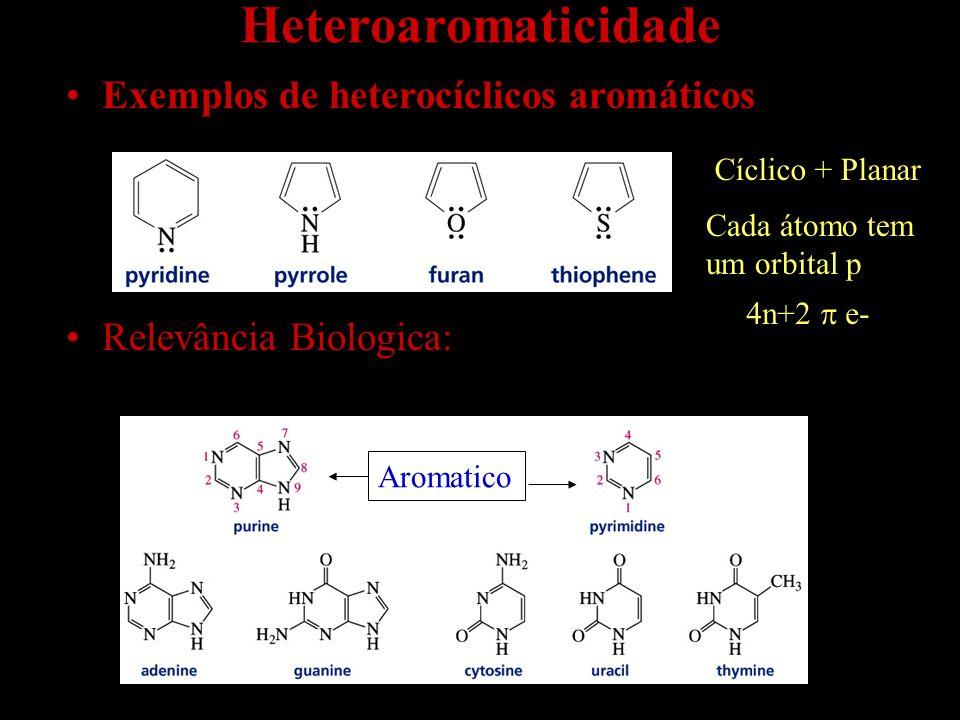 Heteroaromaticidade Exemplos de heterocíclicos aromáticos Relevância Biologica: Cada átomo tem um orbital p Cíclico + Planar 4n+2  e- Aromatico
