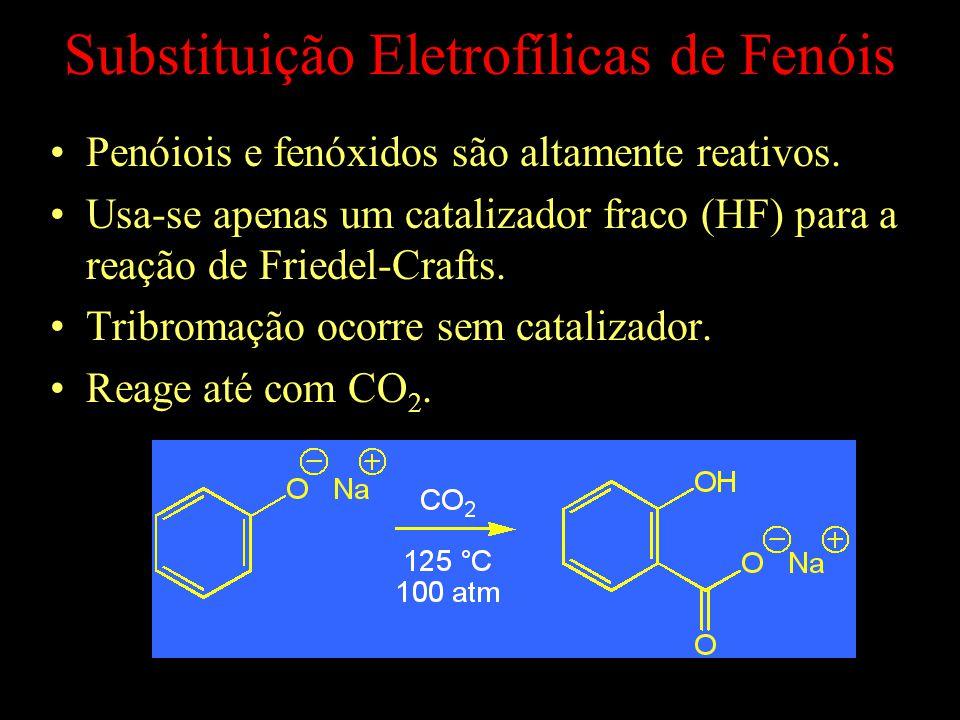Substituição Eletrofílicas de Fenóis Penóiois e fenóxidos são altamente reativos.