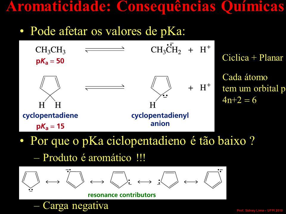 Aromaticidade: Consequências Químicas Pode afetar os valores de pKa: Por que o pKa ciclopentadieno é tão baixo .