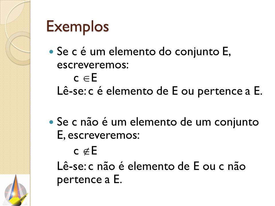 Exemplos Se c é um elemento do conjunto E, escreveremos: c  E Lê-se: c é elemento de E ou pertence a E. Se c não é um elemento de um conjunto E, escr