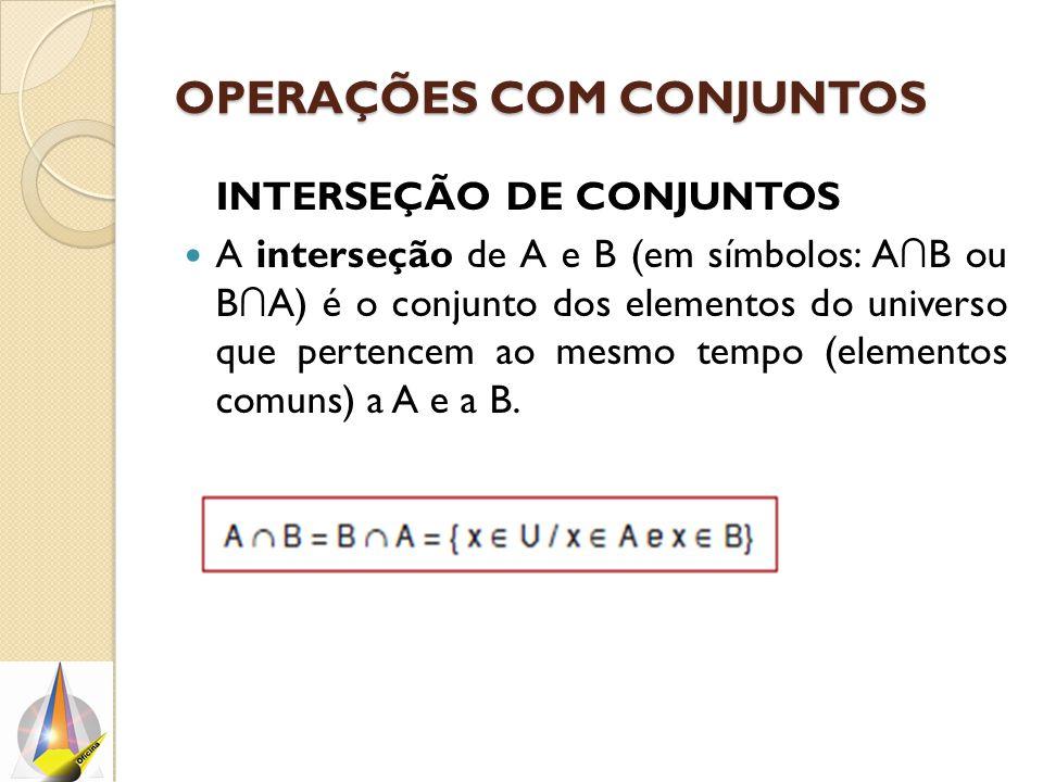 OPERAÇÕES COM CONJUNTOS INTERSEÇÃO DE CONJUNTOS A interseção de A e B (em símbolos: A ∩ B ou B ∩ A) é o conjunto dos elementos do universo que pertencem ao mesmo tempo (elementos comuns) a A e a B.