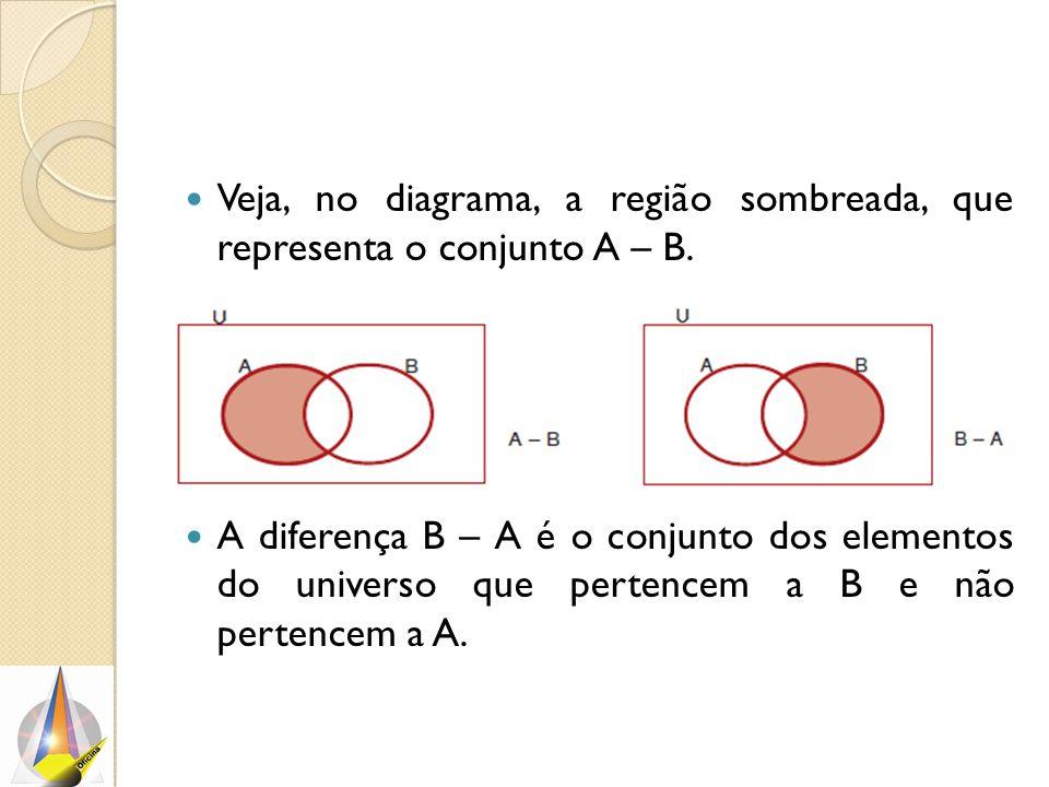 Veja, no diagrama, a região sombreada, que representa o conjunto A – B. A diferença B – A é o conjunto dos elementos do universo que pertencem a B e n