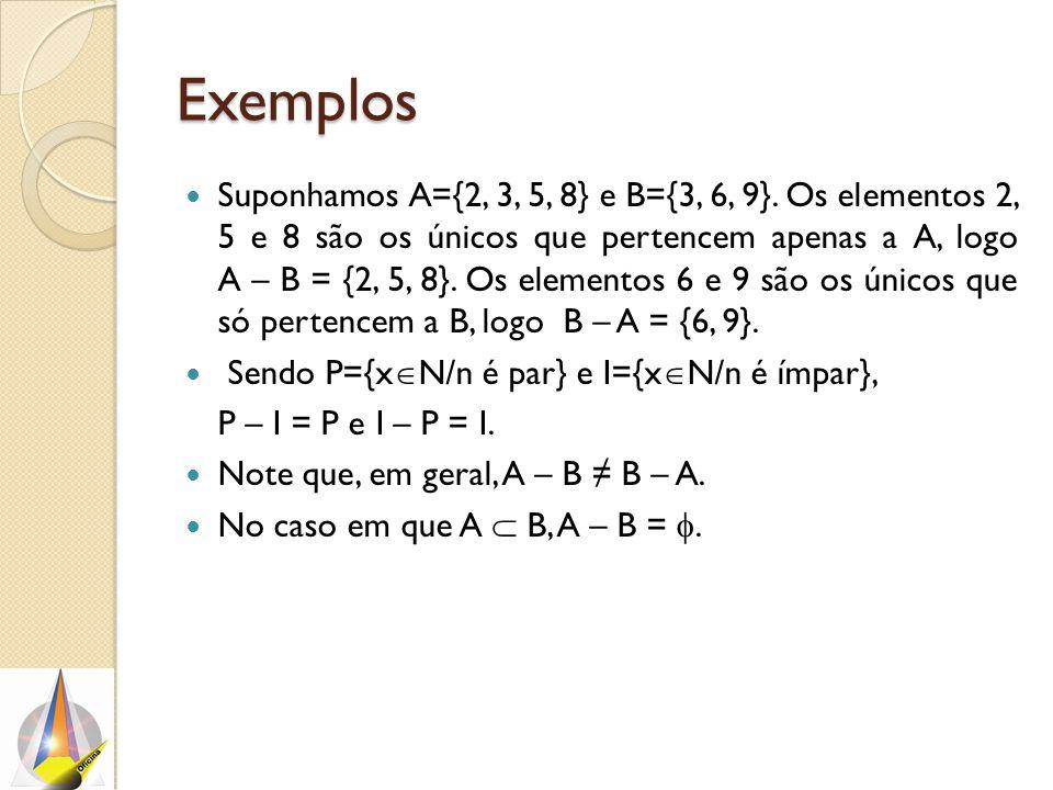 Exemplos Suponhamos A={2, 3, 5, 8} e B={3, 6, 9}. Os elementos 2, 5 e 8 são os únicos que pertencem apenas a A, logo A – B = {2, 5, 8}. Os elementos 6