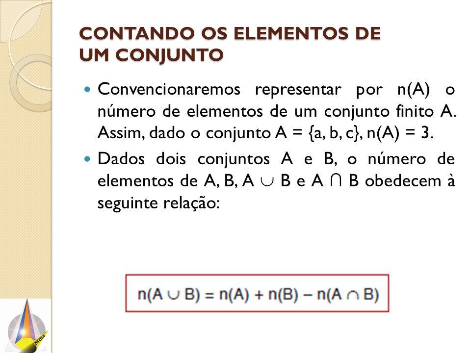 CONTANDO OS ELEMENTOS DE UM CONJUNTO Convencionaremos representar por n(A) o número de elementos de um conjunto finito A. Assim, dado o conjunto A = {
