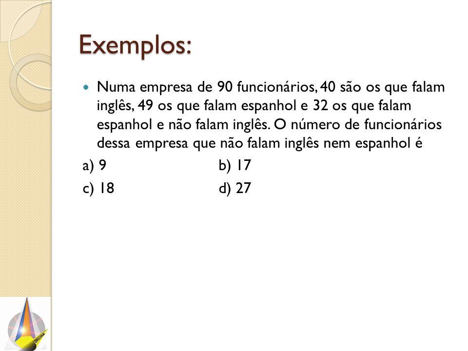 Exemplos: Numa empresa de 90 funcionários, 40 são os que falam inglês, 49 os que falam espanhol e 32 os que falam espanhol e não falam inglês.