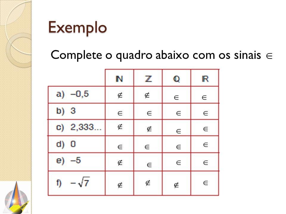 Exemplo Complete o quadro abaixo com os sinais  ou .                     