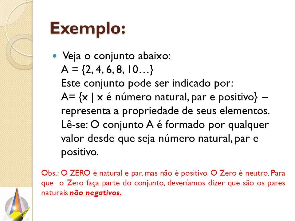 Exemplo: Veja o conjunto abaixo: A = {2, 4, 6, 8, 10…} Este conjunto pode ser indicado por: A= {x | x é número natural, par e positivo} – representa a propriedade de seus elementos.