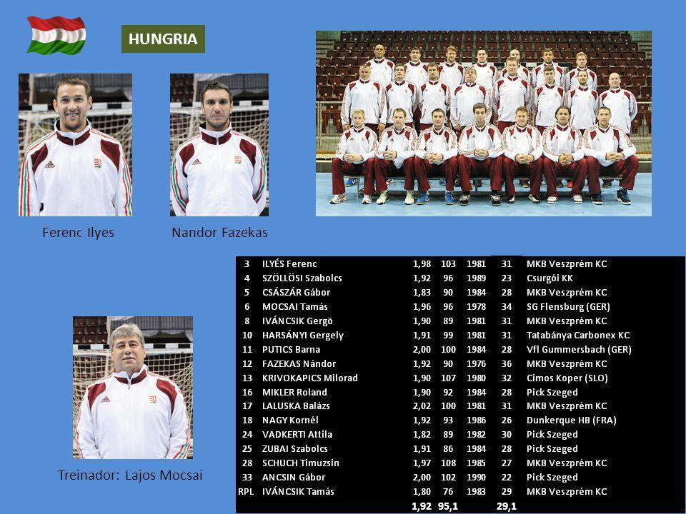Treinador: Lajos Mocsai Ferenc Ilyes HUNGRIA Nandor Fazekas