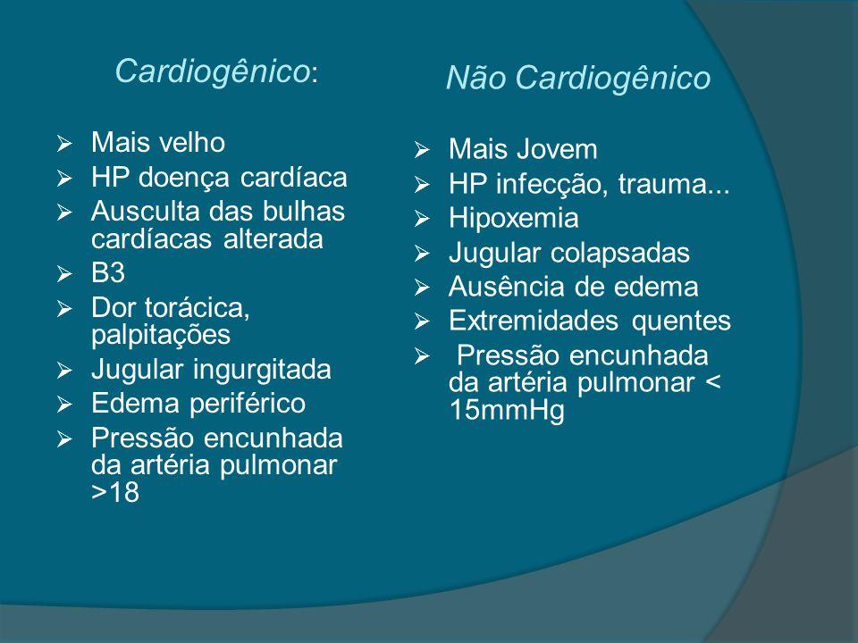 Exames complementares  Ecocardiograma  Eletrocardiograma  Enzimas cardíaca  Peptídeo natriurético cerebral (BNP) : < 100pg falência cardíaca é improvável  RX Tórax: cardiomegalia, infiltrados centrais, linhas de Kerley, aumento do espaço peribroncovascular → cardiogênico broncograma aéreo, infiltrados periféricos, área cardíaca normal → não cardiogênico
