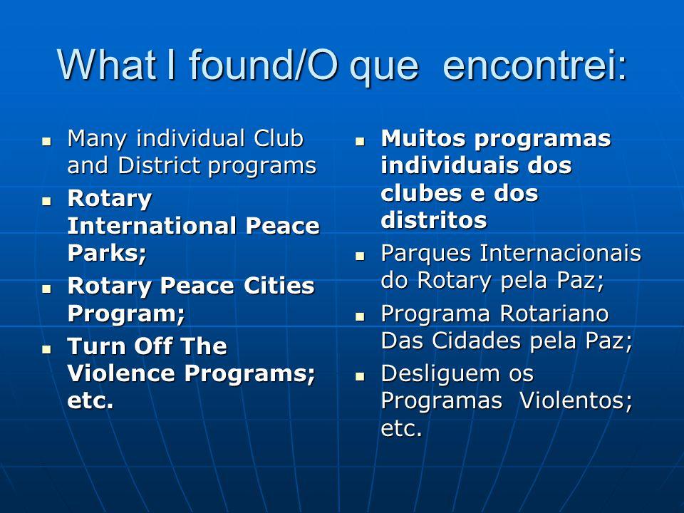 What I found/O que encontrei: Many individual Club and District programs Many individual Club and District programs Rotary International Peace Parks;