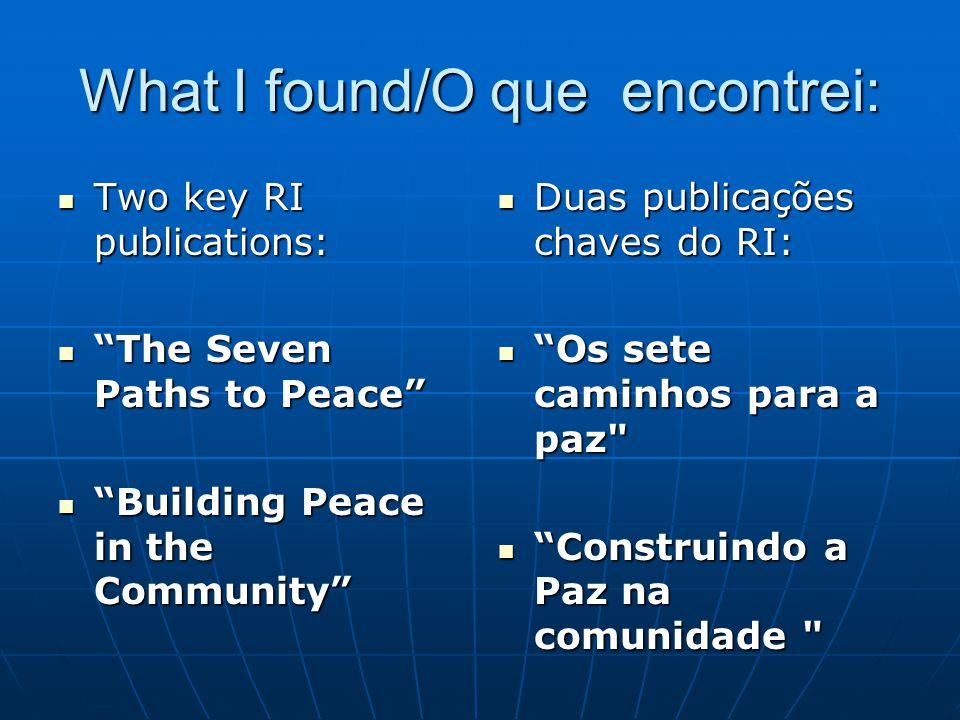 "What I found/O que encontrei: Two key RI publications: Two key RI publications: ""The Seven Paths to Peace"" ""The Seven Paths to Peace"" ""Building Peace"