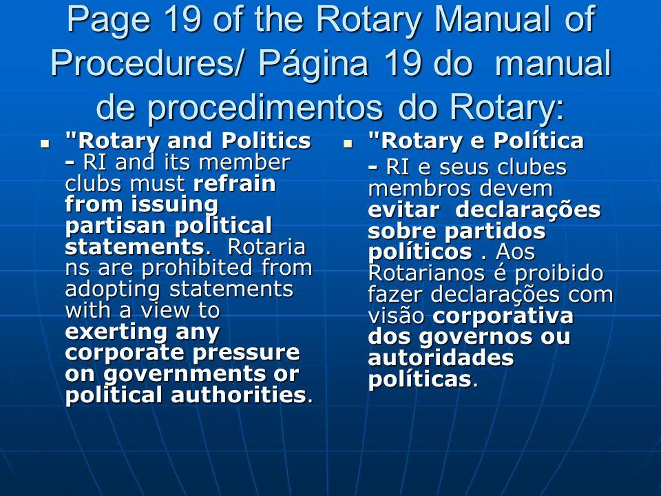 Page 19 of the Rotary Manual of Procedures/ Página 19 do manual de procedimentos do Rotary: