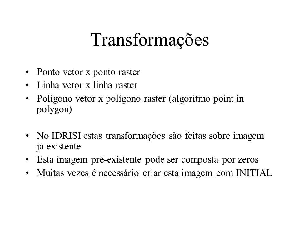 Transformação Vetor - raster Transformação de pontos Pontos vetoriais podem ser transformados em pontos raster Inicia com grade vazia Tipos de transformações –Registra a presença de 1 ou mais pontos numa célula (0 ou 1) –Conta a freqüencia de pontos dentro de uma célula –Assume o valor do ponto vetorial na célula –Registra o valor da soma dos identificadores dos pontos Utilidade: –semente para delimitação de bacia é um ponto; –estrada vetorial somente pode ser considerada em uma análise de caminho ótimo se for rasterizada
