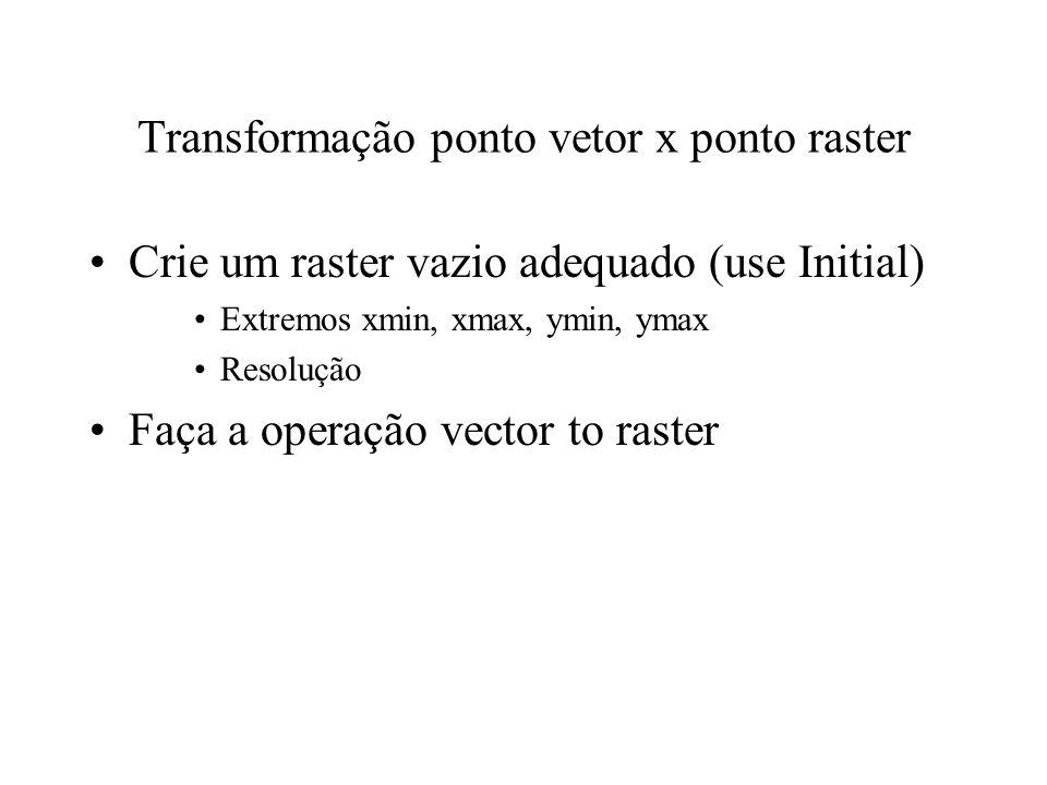Transformação ponto vetor x ponto raster Crie um raster vazio adequado (use Initial) Extremos xmin, xmax, ymin, ymax Resolução Faça a operação vector