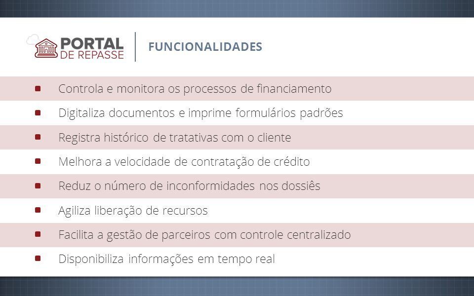 Controla e monitora os processos de financiamento Digitaliza documentos e imprime formulários padrões Registra histórico de tratativas com o cliente M