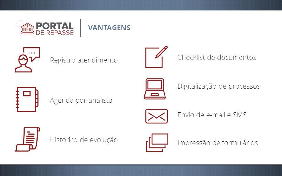VANTAGENS Registro atendimento Agenda por analista Histórico de evolução Checklist de documentos Digitalização de processos Envio de e-mail e SMS Impressão de formulários