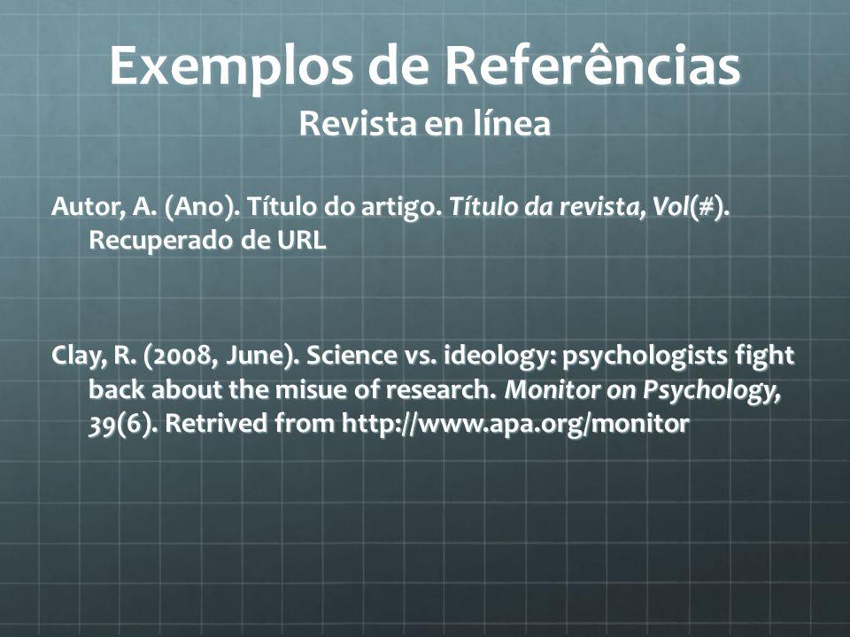 Exemplos de Referências Revista en línea Autor, A.