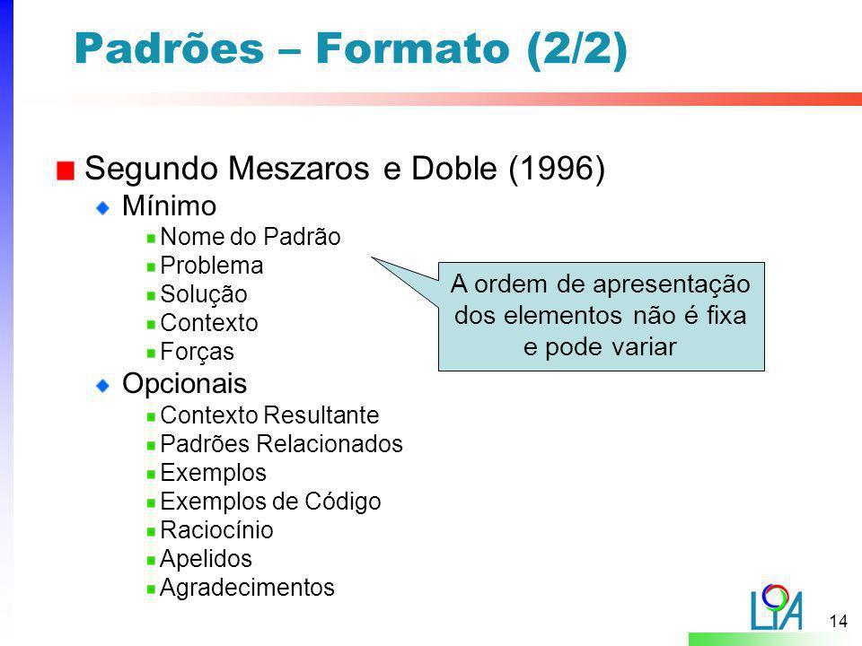 14 Padrões – Formato (2/2) Segundo Meszaros e Doble (1996) Mínimo Nome do Padrão Problema Solução Contexto Forças Opcionais Contexto Resultante Padrõe