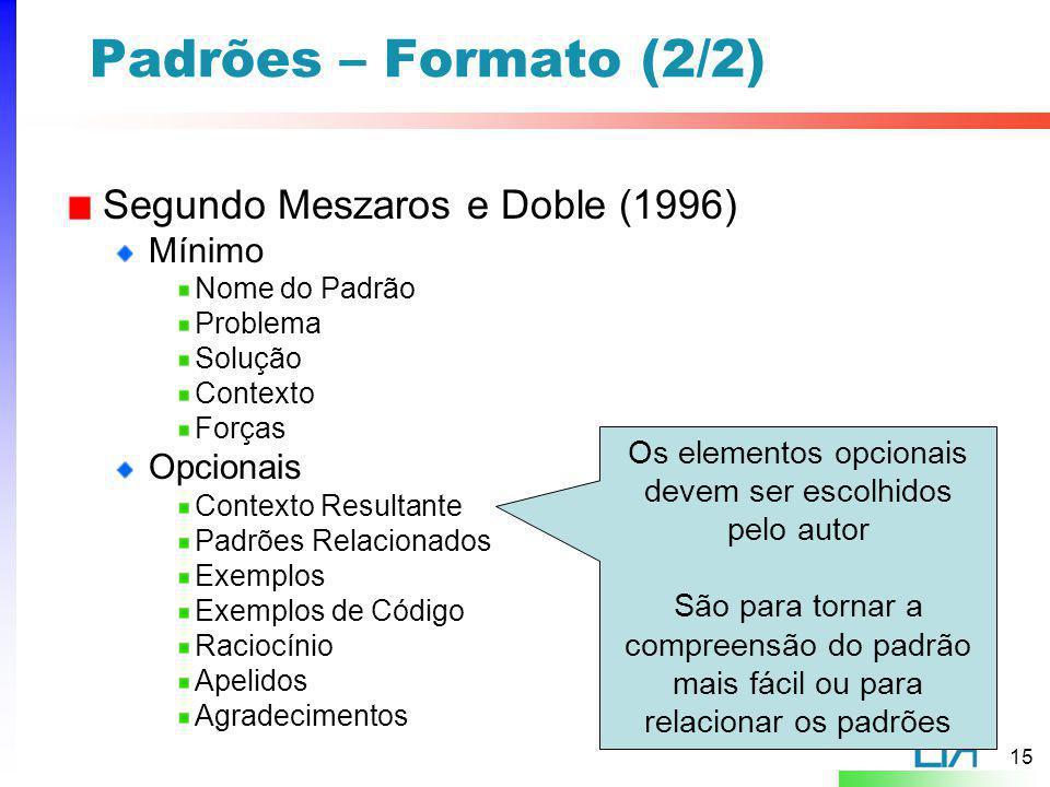 15 Padrões – Formato (2/2) Segundo Meszaros e Doble (1996) Mínimo Nome do Padrão Problema Solução Contexto Forças Opcionais Contexto Resultante Padrõe