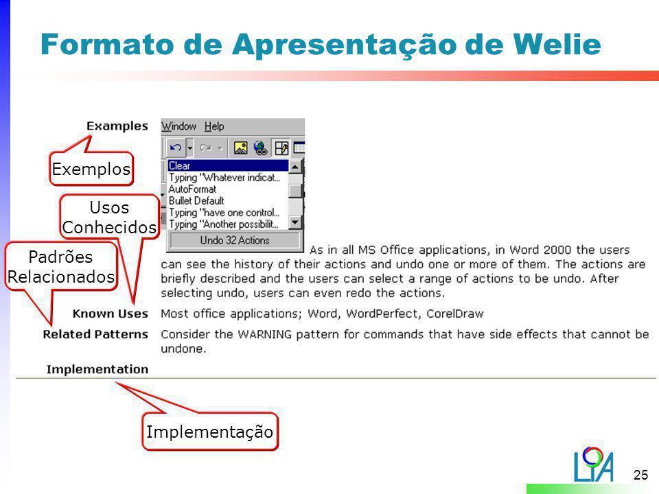 25 Exemplos Usos Conhecidos Padrões Relacionados Implementação Formato de Apresentação de Welie