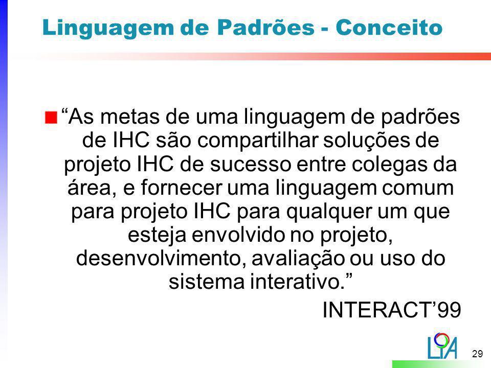 """29 Linguagem de Padrões - Conceito """"As metas de uma linguagem de padrões de IHC são compartilhar soluções de projeto IHC de sucesso entre colegas da á"""
