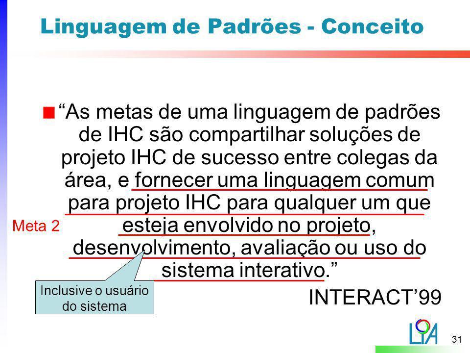 """31 Linguagem de Padrões - Conceito """"As metas de uma linguagem de padrões de IHC são compartilhar soluções de projeto IHC de sucesso entre colegas da á"""