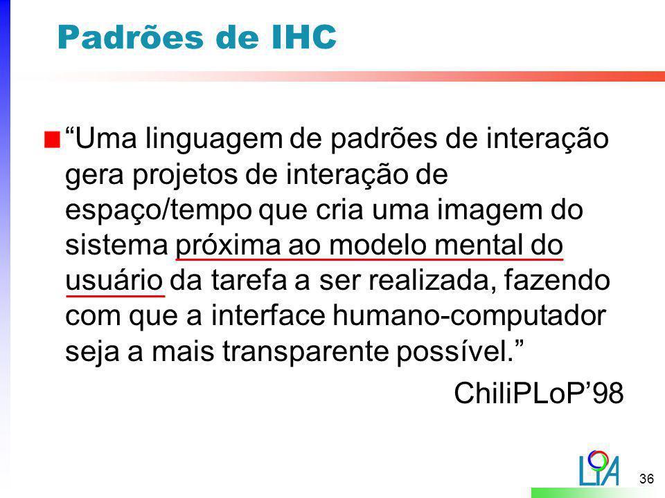 """36 Padrões de IHC """"Uma linguagem de padrões de interação gera projetos de interação de espaço/tempo que cria uma imagem do sistema próxima ao modelo m"""