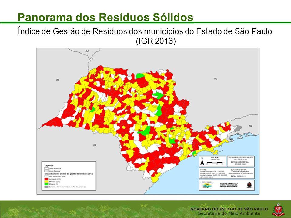 Coordenadoria de Planejamento Ambiental Departamento de Informações Ambientais Centro de Integração e Gerenciamento de Informações Panorama dos Resíduos Sólidos Índice de Gestão de Resíduos dos municípios do Estado de São Paulo (IGR 2013)