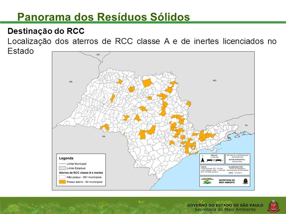 Coordenadoria de Planejamento Ambiental Departamento de Informações Ambientais Centro de Integração e Gerenciamento de Informações Panorama dos Resíduos Sólidos Destinação do RCC Localização dos aterros de RCC classe A e de inertes licenciados no Estado