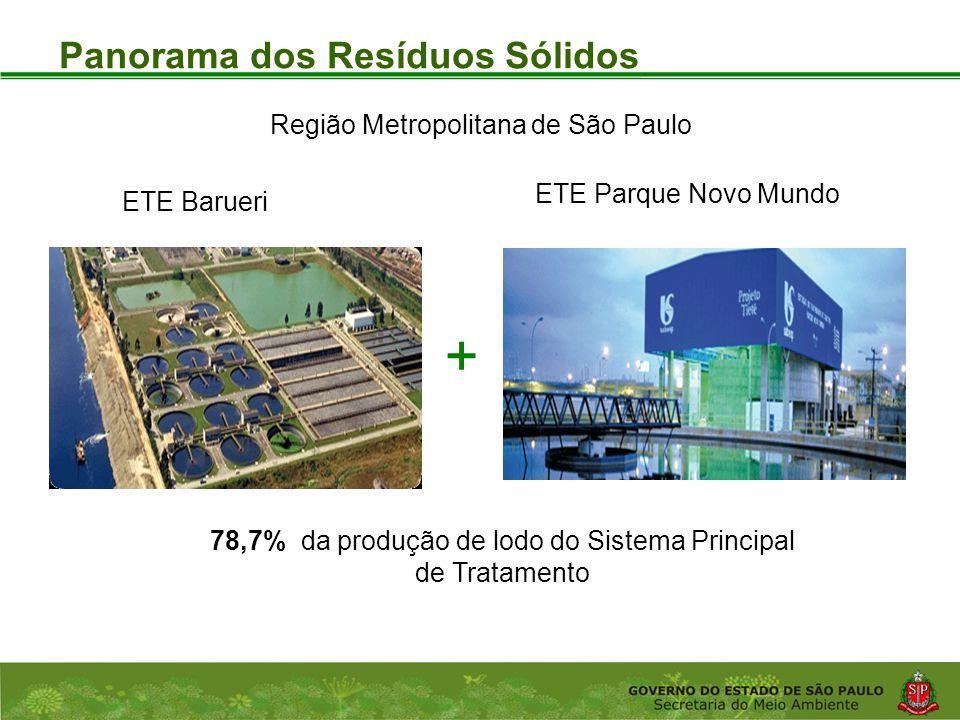 Coordenadoria de Planejamento Ambiental Departamento de Informações Ambientais Centro de Integração e Gerenciamento de Informações Panorama dos Resíduos Sólidos Região Metropolitana de São Paulo ETE Barueri ETE Parque Novo Mundo 78,7% da produção de lodo do Sistema Principal de Tratamento +