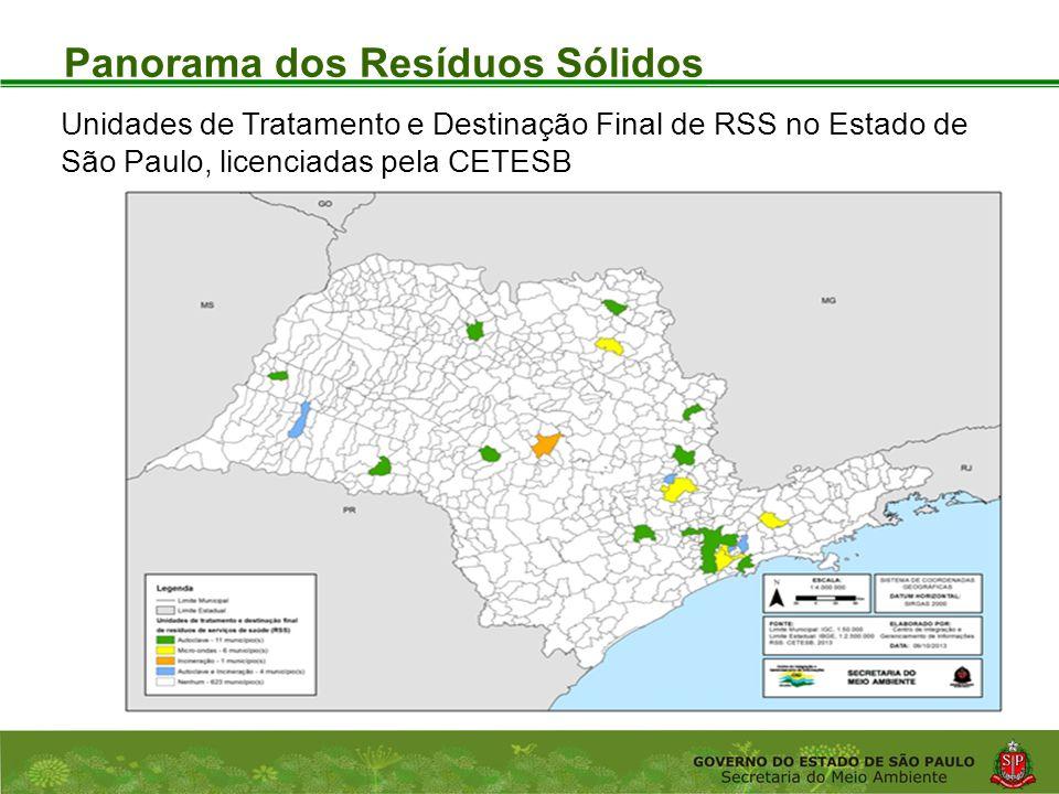 Coordenadoria de Planejamento Ambiental Departamento de Informações Ambientais Centro de Integração e Gerenciamento de Informações Panorama dos Resíduos Sólidos Unidades de Tratamento e Destinação Final de RSS no Estado de São Paulo, licenciadas pela CETESB