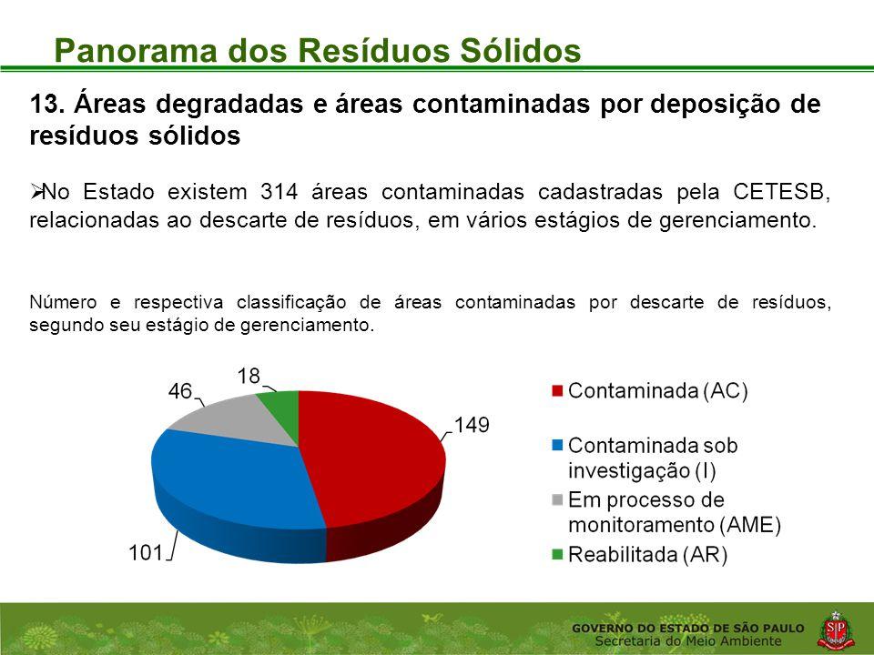 Coordenadoria de Planejamento Ambiental Departamento de Informações Ambientais Centro de Integração e Gerenciamento de Informações Panorama dos Resíduos Sólidos 13.