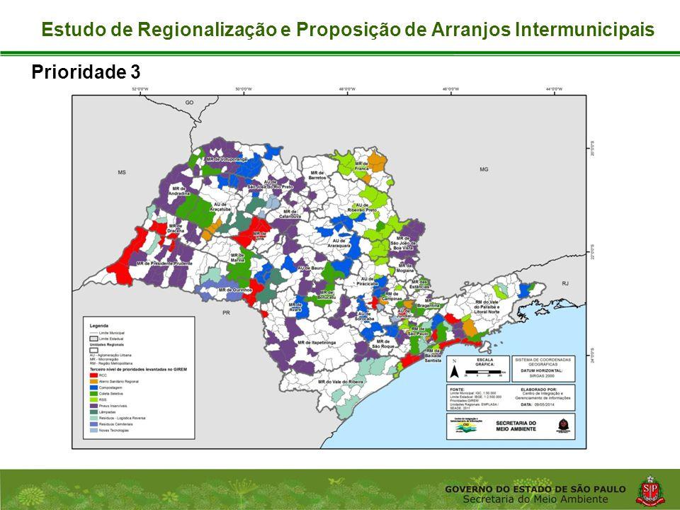 Coordenadoria de Planejamento Ambiental Departamento de Informações Ambientais Centro de Integração e Gerenciamento de Informações Prioridade 3 Estudo de Regionalização e Proposição de Arranjos Intermunicipais